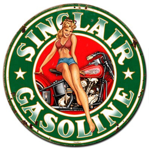 Sinclair Gasoline Pinup Girl Metal Sign 24 x 24 Inches