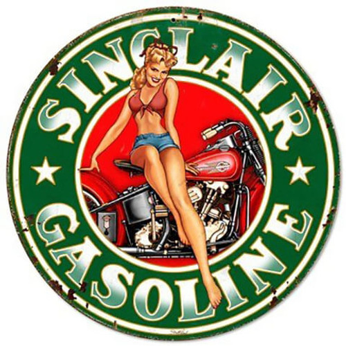Sinclair Gasoline Pinup Girl Metal Sign 14 x 14 Inches