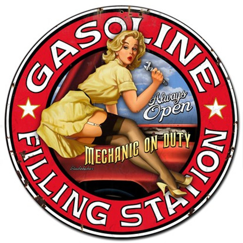 Filling Station Pinup Girl Metal Sign 14 x 14 Inches