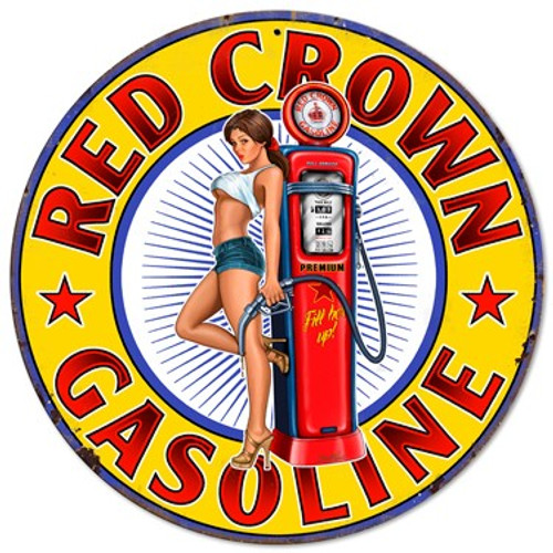 Red Crown Gasoline Pinup Girl Metal Sign 14 x 14 Inches