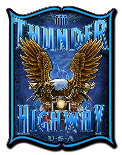 Thunder Hwy Metal Sign 14 x 19 Inches