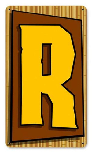 Vintage Tiki Letter R Metal Sign    8 x 14 Inches