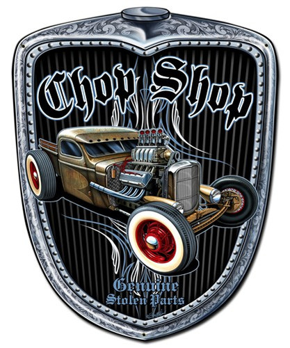 Chop Shop Grill Metal Sign 11 x 14 Inches