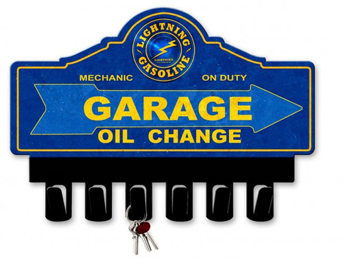 Lightning Gasoline Metal Key Hanger 14 x 10 Inches