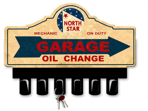 North Star Gasoline Metal Key Hanger 14 x 10 Inches