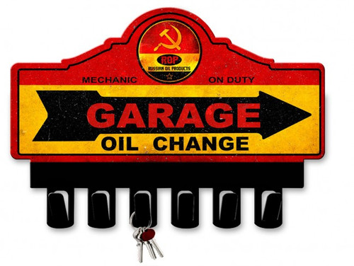 ROP Gasoline Metal Key Hanger 14 x 10 Inches