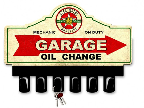 Star Motor Gasoline Metal Key Hanger 14 x 10 Inches