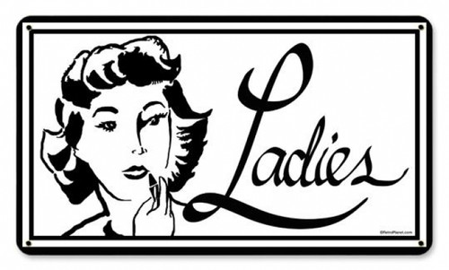 Vintage Ladies Metal Sign 8 x 14 Inches