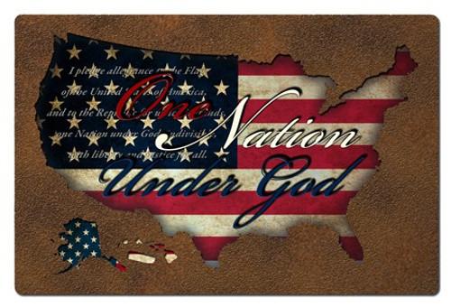 USA Flag Pledge Cutout Metal Sign 24 x 16 Inches