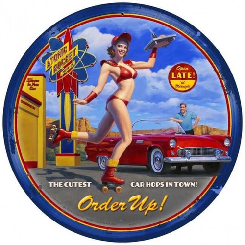 Car Hop Round Metal Sign 14 x 14 Inches