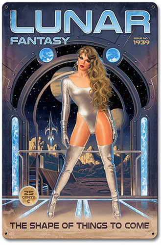 Lunar Fantasy Pinup Girl Metal Sign 12 x 18 Inches