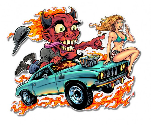 Speed Demon Flaming Hot Rod Metal Sign 17 x 13 Inches