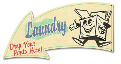 Laundry Arrow Grunge Metal Sign 21 x 11 Inches