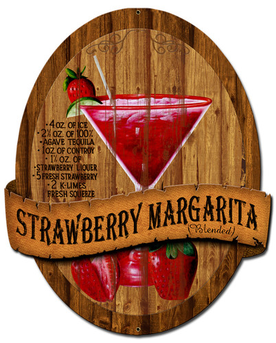 3-D Layered Strawberry Margarita Metal Sign 13 x 16 Inches