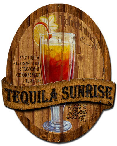 3-D Layered Tequila Sunrise Metal Sign 13 x 16 Inches