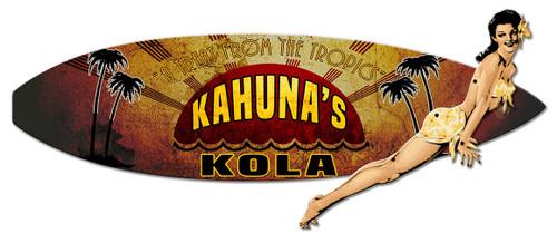 3-D Layered Kahuna Kola Surf Board Metal Sign 23 x 20 Inches