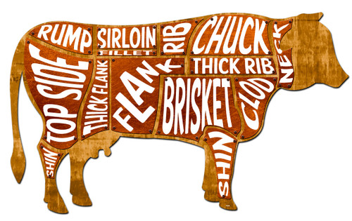 3-D Layered Cow Meat Chart Metal Sign 32 x 18 Inches