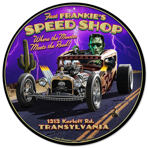 Frankies Speed Shop Metal Sign 14 x 14 Inches