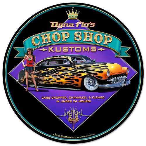 Dyna Flos Chop Shop Metal Sign 14 x 14 Inches