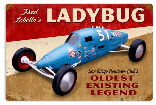 Ladybug Metal Sign 18 x 12 Inches