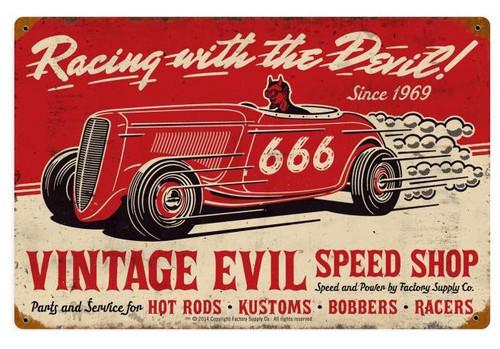 Vintage Evil Racing Devil Metal Sign 18 x 12 Inches