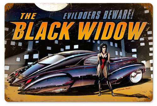Black Widow Metal Sign 18 x 12 Inches