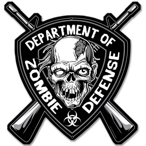 Zombie Defense Metal Sign 15 x 15 Inches