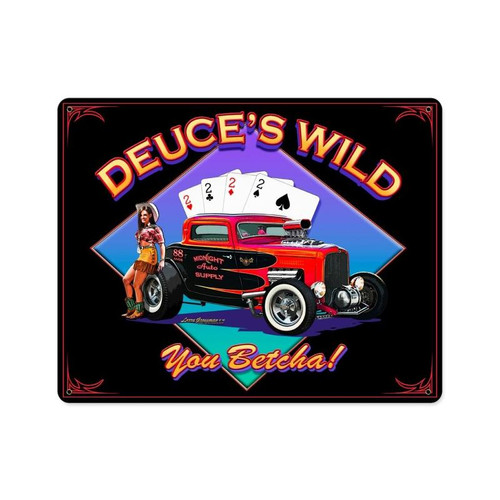 Deuces Wild Metal Sign 15 x 12 Inches