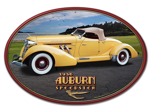 1936 Auburn Speedster Metal Sign 18 x 12 Inches