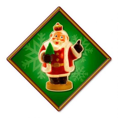 Vintage Santa Crown Metal Sign 12 x 12 Inches
