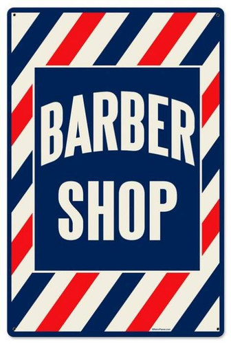 Retro Barber Shop Metal Sign 24 x 16 Inches