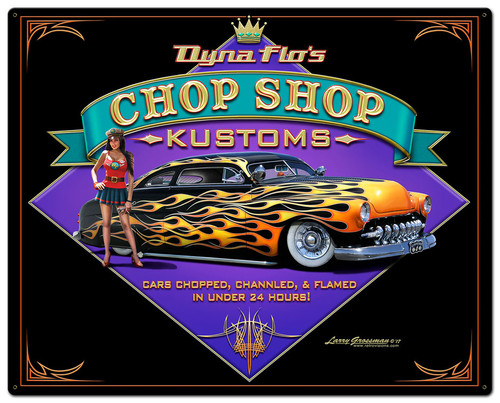 Dyna Flos Kustom Shop Metal Sign 24 x 30 Inches