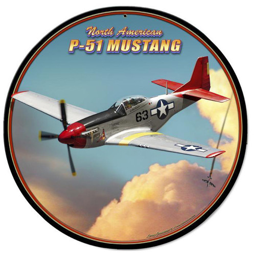 P-51 Mustang Metal Sign 14 x 14 Inches