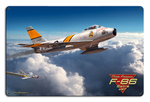 F-86 Saber Jet 18x12 Metal Sign 18 x 12 Inches