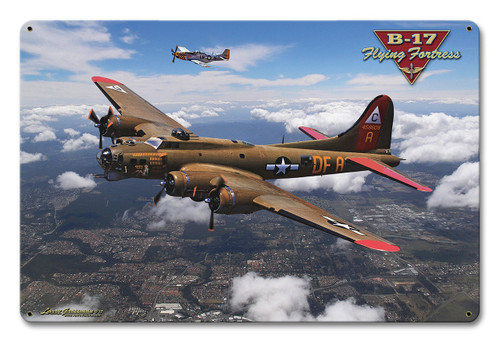 B-17 Flying Fortress Metal Sign 12 x 18 Inches
