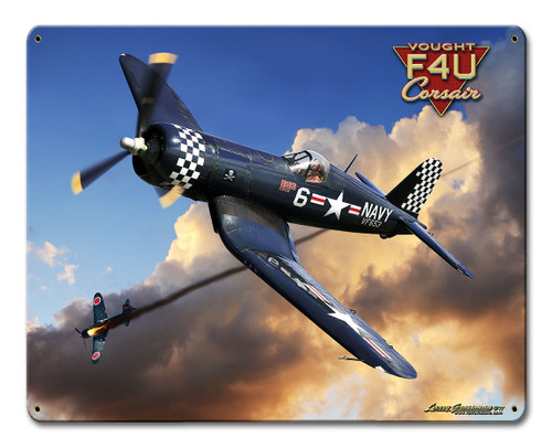 Corsair F4u Metal Sign 12 x 15 Inches