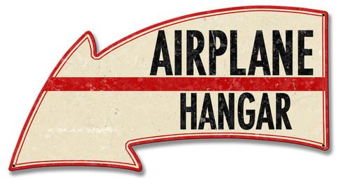 Airplane Hangar Arrow Metal Sign 21 x 11 Inches