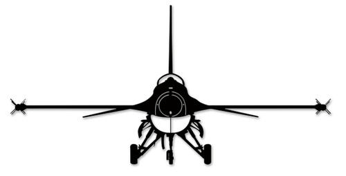 F-16 Silhouette Metal Sign 40 x 20 Inches