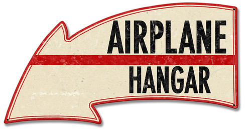 Airplane Hangar Arrow Metal Sign 26 x 14 Inches
