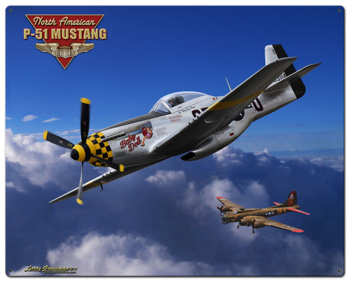 P-51 Mustang Metal Sign 24 x 30 Inches