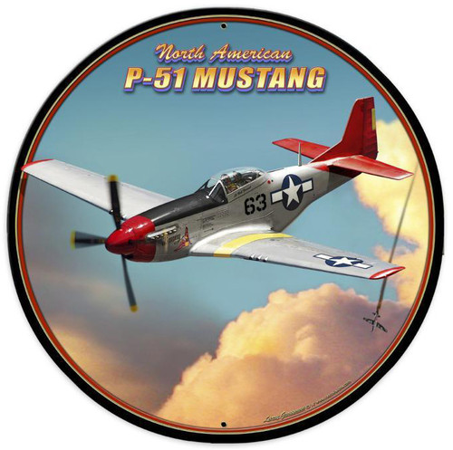 P-51 Mustang Metal Sign 28 x 28 Inches