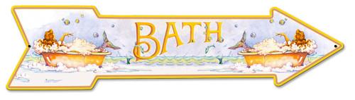 Mermaid Bath Arrow Metal Sign 30 x 7 Inches
