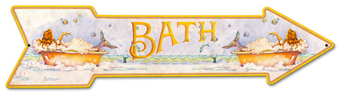 Mermaid Bath Arrow Grunge Metal Sign 30 x 7 Inches