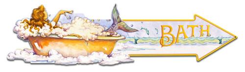 Mermaid Bath Metal Sign 28 x 7 Inches