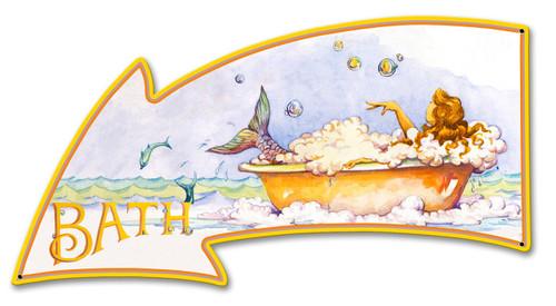 Mermaid Bath Metal Sign 21 x 11 Inches