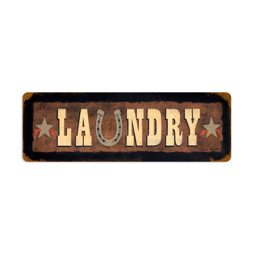 Laundry Metal Sign 24 x 8 Inches