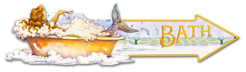 Mermaid Arrow Bath Metal Sign 33 x 9 Inches