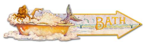 Grunge Mermaid Arrow Bath Metal Sign 33 x 9 Inches