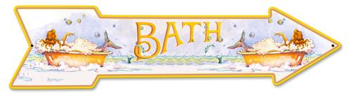 Mermaid Bath Arrow Metal Sign 36 x 9 Inches
