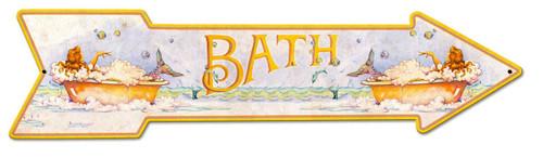 Mermaid Bath Arrow Grunge Metal Sign 36 x 9 Inches